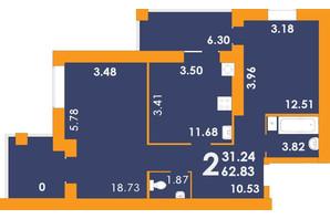 ЖК Park Residence: планировка 2-комнатной квартиры 62.83 м²