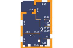 ЖК Park Residence: планировка 2-комнатной квартиры 59.5 м²