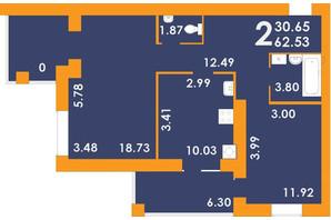 ЖК Park Residence: планировка 2-комнатной квартиры 62.53 м²