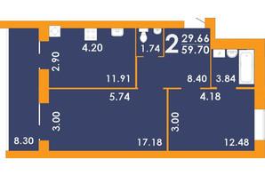 ЖК Park Residence: планировка 2-комнатной квартиры 59.7 м²