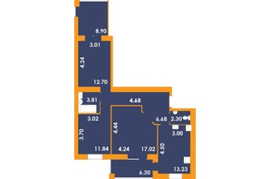 ЖК Park Residence: планировка 3-комнатной квартиры 87.46 м²