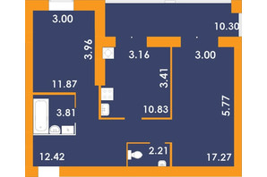 ЖК Park Residence: планировка 2-комнатной квартиры 68.71 м²
