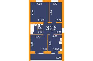 ЖК Park Residence: планировка 3-комнатной квартиры 72.4 м²