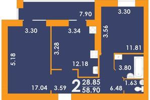 ЖК Park Residence: планировка 2-комнатной квартиры 58.9 м²