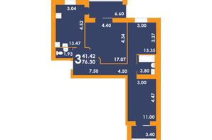 ЖК Park Residence: планировка 3-комнатной квартиры 76.3 м²