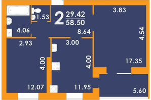 ЖК Park Residence: планировка 2-комнатной квартиры 58.5 м²