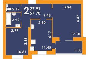 ЖК Park Residence: планировка 2-комнатной квартиры 57.7 м²