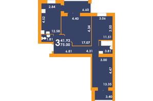 ЖК Park Residence: планировка 3-комнатной квартиры 75 м²