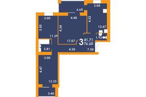 ЖК Park Residence: планировка 3-комнатной квартиры 76.6 м²