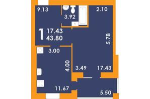 ЖК Park Residence: планировка 1-комнатной квартиры 43.8 м²