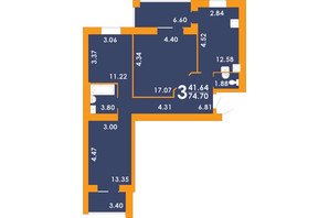 ЖК Park Residence: планировка 3-комнатной квартиры 74.7 м²