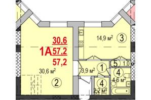 ЖК Парк Стоун: планування 1-кімнатної квартири 57.2 м²