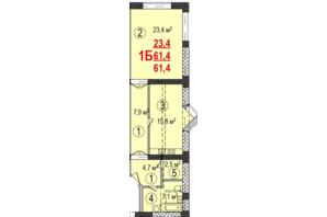 ЖК Парк Стоун: планування 1-кімнатної квартири 61.4 м²