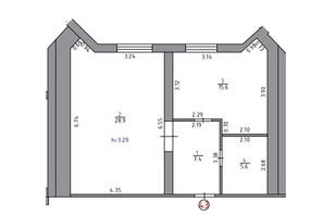 ЖК Парк Стоун: планировка 1-комнатной квартиры 70.8 м²