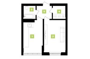 ЖК Паркова Алея: планування 1-кімнатної квартири 42 м²