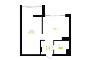 ЖК Паркова Алея: планування 1-кімнатної квартири 40 м²