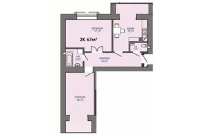 ЖК Паркова Алея: планування 2-кімнатної квартири 67 м²