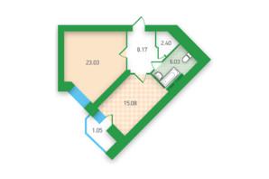 ЖК «Паркова Долина»: планування 1-кімнатної квартири 55.76 м²