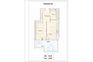 ЖК Паркова Оселя (Parkova Oselya): планування 1-кімнатної квартири 40.29 м²