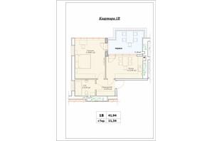 ЖК Паркова Оселя (Parkova Oselya): планування 1-кімнатної квартири 41.94 м²