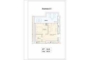 ЖК Паркова Оселя (Parkova Oselya): планування 1-кімнатної квартири 32.1 м²