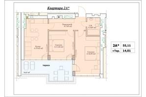 ЖК Parkova Oselya Terrace: планування 2-кімнатної квартири 62.115 м²