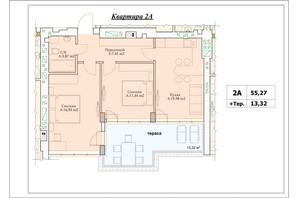 ЖК Parkova Oselya Terrace: планування 2-кімнатної квартири 61.93 м²