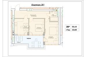 ЖК Parkova Oselya Terrace: планування 2-кімнатної квартири 59.965 м²
