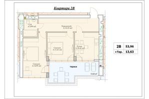 ЖК Parkova Oselya Terrace: планування 2-кімнатної квартири 60.775 м²
