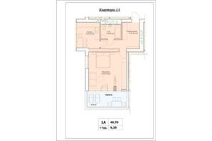 ЖК Parkova Oselya Terrace: планування 1-кімнатної квартири 51.455 м²