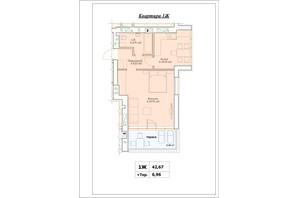 ЖК Parkova Oselya Terrace: планування 1-кімнатної квартири 50.095 м²
