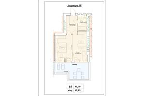 ЖК Parkova Oselya Terrace: планування 1-кімнатної квартири 48.215 м²