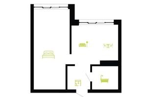 ЖК Парковая Алея: планировка 1-комнатной квартиры 40 м²