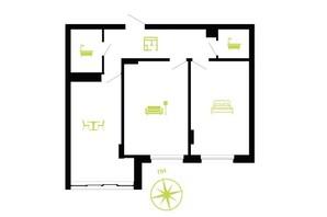 ЖК Парковая Аллея: планировка 2-комнатной квартиры 62 м²