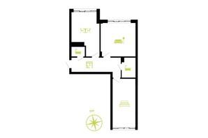 ЖК Парковая Аллея: планировка 2-комнатной квартиры 67 м²