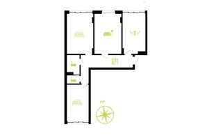 ЖК Парковая Аллея: планировка 3-комнатной квартиры 82 м²