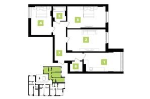 ЖК Парковая Аллея: планировка 3-комнатной квартиры 90 м²