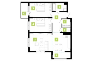ЖК Парковая Аллея: планировка 3-комнатной квартиры 83 м²