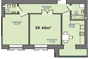 ЖК Парковая Аллея: планировка 2-комнатной квартиры 60 м²