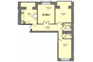 ЖК Парковая Аллея: планировка 3-комнатной квартиры 88 м²