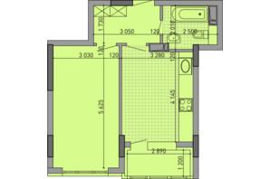 ЖК Паркове місто: планировка 1-комнатной квартиры 43.77 м²