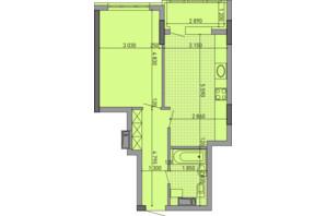 ЖК Паркове місто: планировка 1-комнатной квартиры 46.83 м²