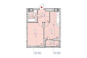ЖК Паркові Озера 2: планування 1-кімнатної квартири 45 м²