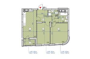 ЖК Парковые Озера 2: планировка 2-комнатной квартиры 62.3 м²