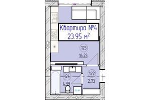 ЖК Парковый 5: планировка 1-комнатной квартиры 23.95 м²