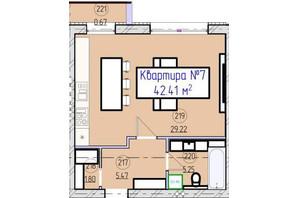 ЖК Парковый 5: планировка 1-комнатной квартиры 42.41 м²