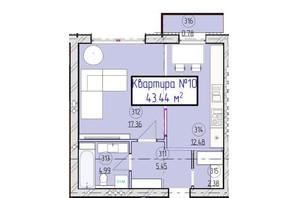 ЖК Парковый 5: планировка 1-комнатной квартиры 43.5 м²
