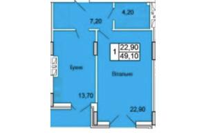 ЖК Парковий Бульвар: планування 1-кімнатної квартири 49 м²