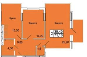 ЖК Парковий Бульвар: планування 2-кімнатної квартири 71 м²