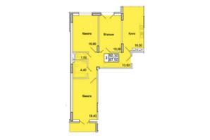 ЖК Парковий Бульвар: планування 3-кімнатної квартири 87 м²
